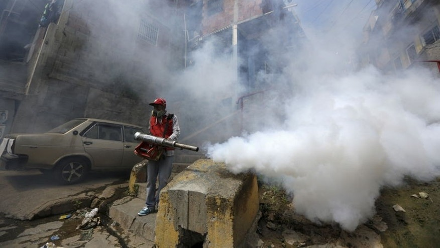 A Venezuelan health worker fumigates the Valle slum to help control the spread of the mosquito-borne Zika virus in Caracas, January 28, 2016. REUTERS/Marco Bello