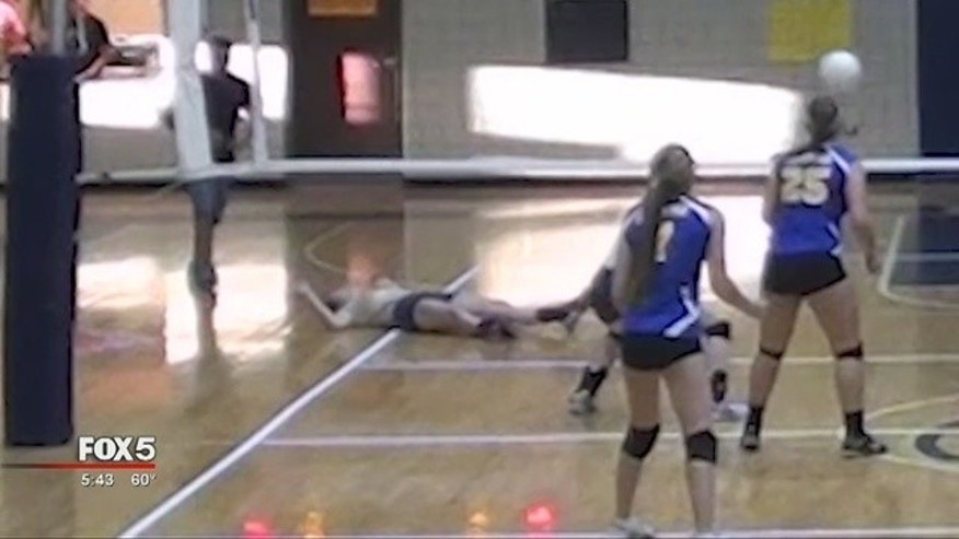Claire Crawford, 17, suffered cardiac arrest during a volleyball game.