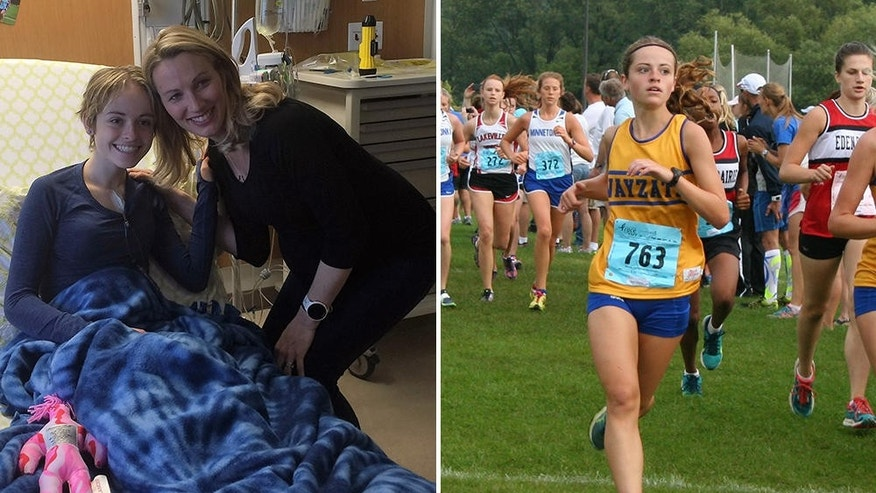 Left: U.S. Olympian Carrie Tollefson recently visited Miranda Mead in the hospital while she was receiving chemotherapy to treat Ewing's sarcoma. Right: Mead races for Wayzata High School. PHOTOGRAPH BY JULIE MEAD