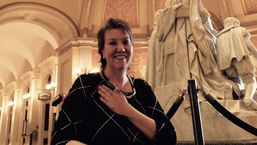 Sept. 11, 2015: Christy O'Donnell expresses joy at California State Capitol after state legislature passed End of Life Option Act.