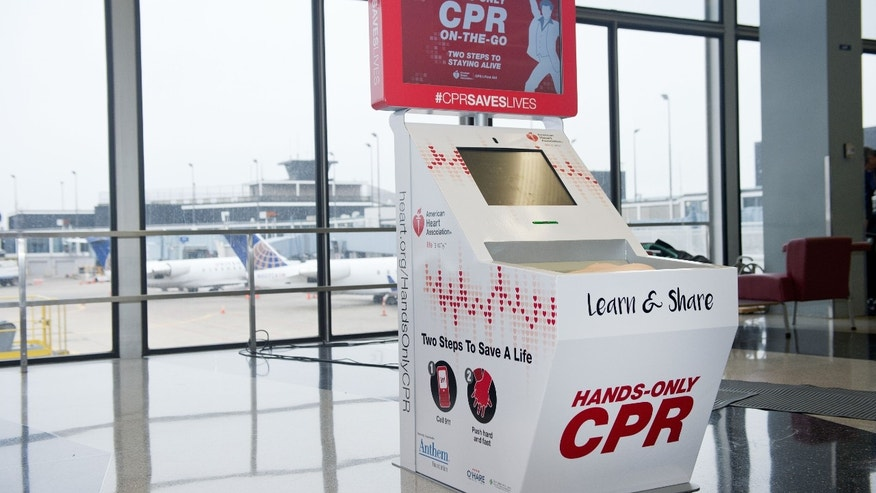 CHICAGO, IL - FEBRUARY 24:  The Hands-Only CPR Training Kiosk provided by the American Heart Association and Anthem Foundation debuts at O'Hare International Airport's Terminal 2 on February 24, 2016 in Chicago, Illinois. (Photo by Brian Kersey/Getty Images for The American Heart Association)