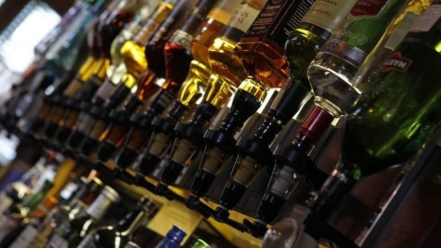 Bottles of alcohol are seen at The Lord Cardigan pub in east London