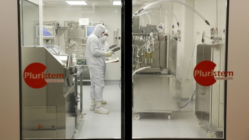 Biologists work in a laboratory at Pluristem Theraputics in Haifa