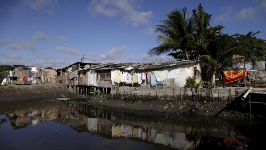 """General view of houses at a lake dwelling known as palafitte or """"Palafita"""" in Recife"""