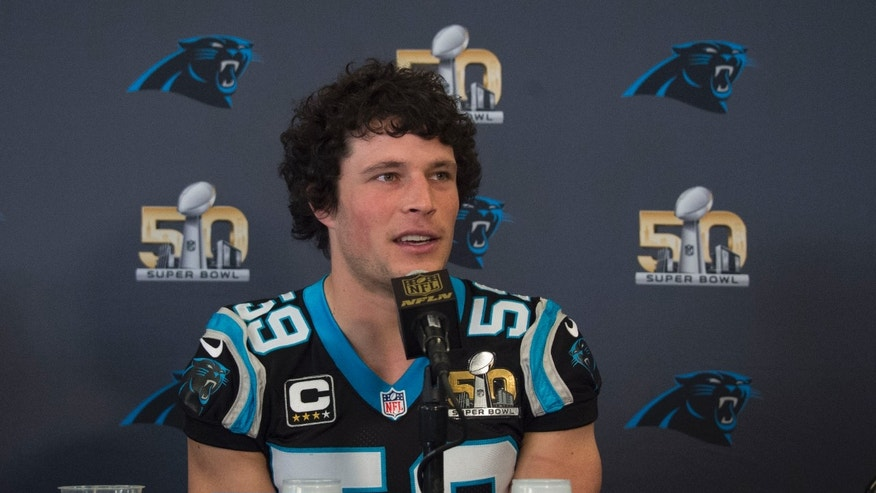 February 3, 2016; San Jose, CA, USA; Carolina Panthers middle linebacker Luke Kuechly (59) addresses the media during a press conference prior to Super Bowl 50 at San Jose Convention Center. Mandatory Credit: Kyle Terada-USA TODAY Sports - RTX25BPU