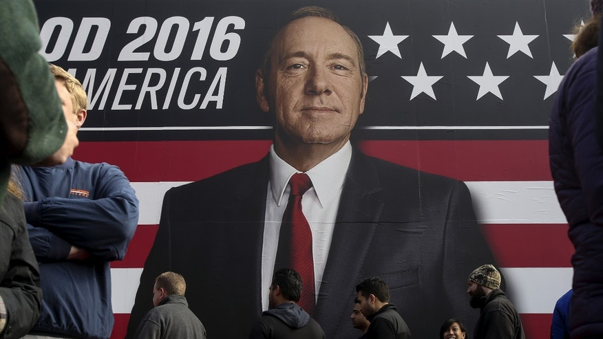 "People line up outside a ""House of Cards"" guerrilla marketing campaign in Greenville, South Carolina, February 12, 2016. Actor Kevin Spacey plays the role of Frank Underwood in the Netflix series"