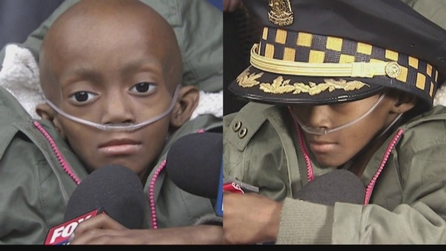 Madison Pruitt, 6, was made an honorary police officer in Chicago.