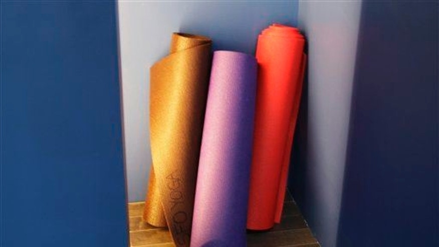 Yoga mats ready for use.