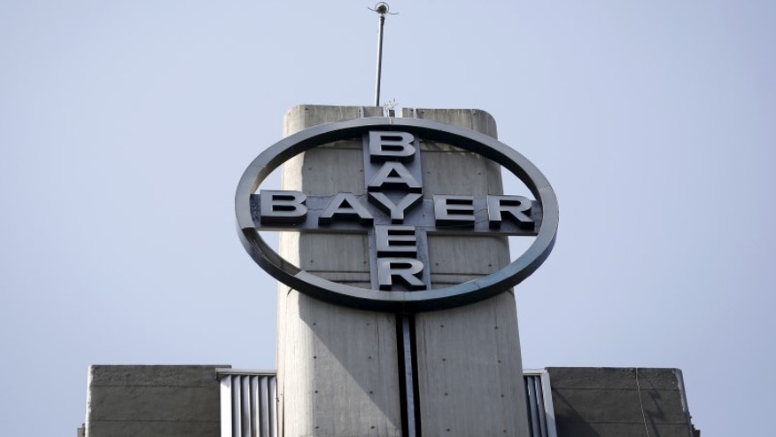 The corporate logo of Bayer is seen at the headquarters building in Caracas