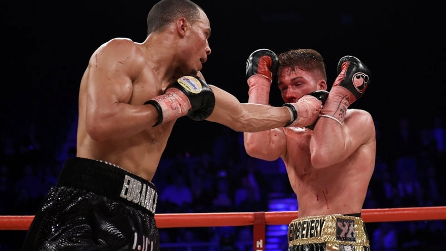 Nick Blackwell and Chris Eubank Jnr compete for the British Middleweight Title at the SSE Arena, Wembley, London