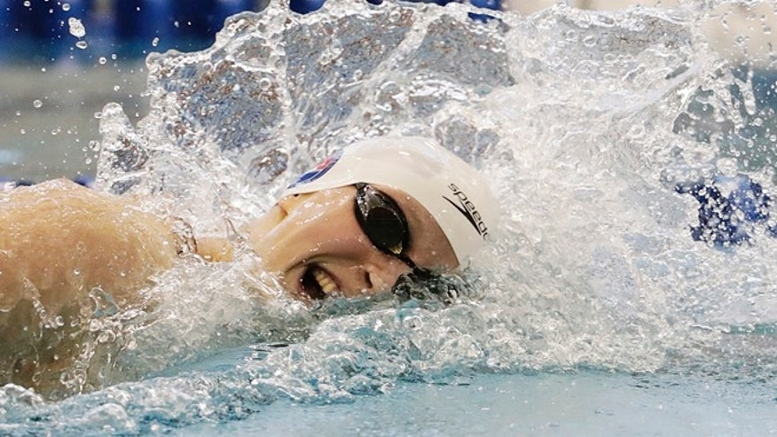 Katie Ledecky in the 400-meter freestyle at the Atlanta Classic swim meet Saturday, May 14, 2016, in Atlanta.