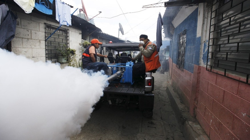 City health workers fumigate the Guadalupe community as part of preventive measures against the Zika virus and other mosquito-borne diseases in Santa Tecla, El Salvador February 3, 2016. REUTERS/Jose Cabezas - RTX25CFN