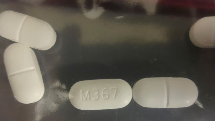 Drug Enforcement Administration photo of a seized counterfeit hydrocodone tablets in the investigation of a rash of fentanyl overdoses in northern California
