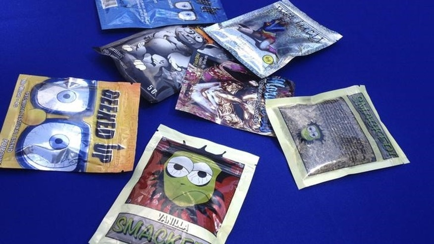 Packets of synthetic marijuana illegally sold in New York City put on display at a news conference in New York