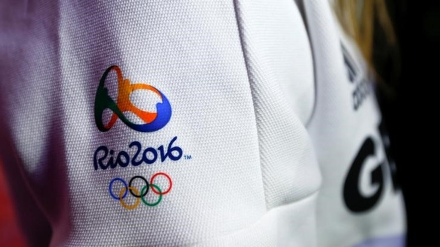 The logo of the Rio 2016 Olympic Summer Games is pictured during Germany's presentation of the official Olympic uniforms in Duesseldorf