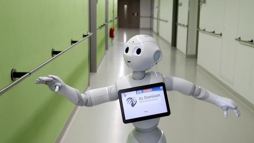 """Pepper"" the robot is seen at AZ Damiaan hospital in Ostend"