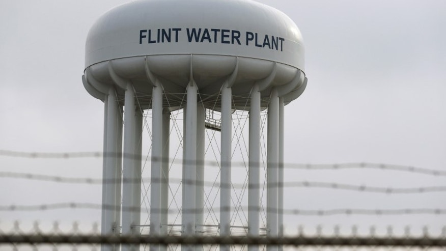 File photo of the top of the Flint Water Plant tower is seen in Flint, Michigan