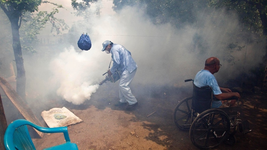 A worker from the health ministry fumigates the backyard of a home where the man who lives there sits in his wheelchair in the neighborhood of Waspam in Managua, Nicaragua.