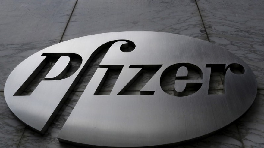 The Pfizer logo is pictured on the company's World Headquarters building in the Manhattan borough of New York