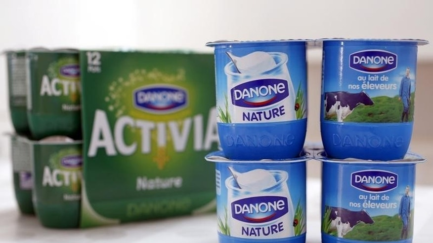 Yoghurt by French foods group Danone is seen in this photo illustration shot in Strasbourg