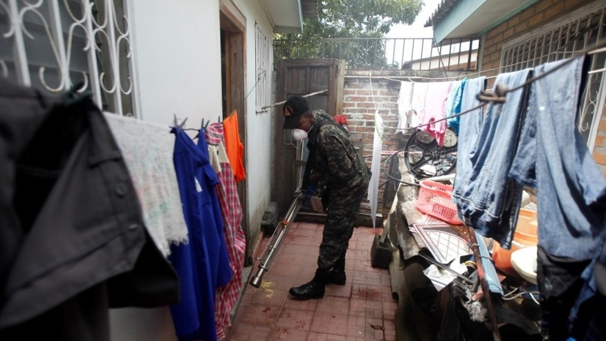 Soldier fumigates a house as part of the city's effort to prevent the spread of Zika virus' vector, the Aedes aegypti mosquito, in Tegucigalpa