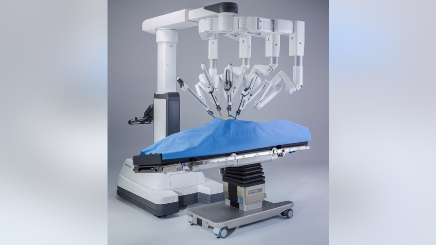 Intuitive Surgical's da Vinci Xi robot-assisted system is integrated with a patient operating room table that can be adjusted during the procedure shown in Sunnyvale