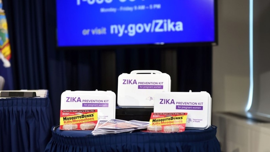 The New York State Department of Health unveiled a Zika Prevention Kit for pregnant women during the rollout of a Zika Information hotline and website, in New York