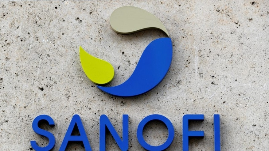 French multinational pharmaceutical company SANOFI logo is seen at the headquarters in Paris