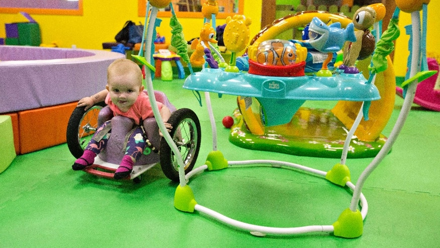 Aug. 9, 2016: One-year-old Eva Moore plays at an indoor play ground in Edmonton, Alberta, Canada.