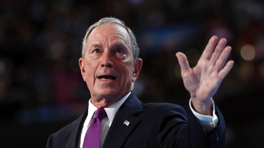 Former New York City Mayor Michael Bloomberg waves after speaking to delegates during the third day session of the Democratic National Convention in Philadelphia, Wednesday, July 27, 2016. (AP Photo/Carolyn Kaster)
