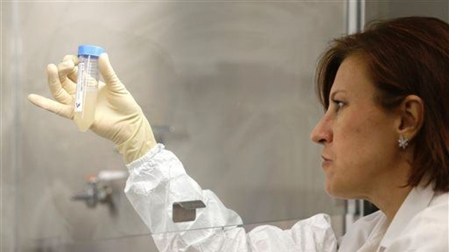 Quality control manager Nina Kotlyarova checks samples for unwanted bacteria as part of the process for making an influenza vaccine at Protein Sciences in Pearl River, N.Y., Tuesday, Aug. 18, 2015. Flublok, their genetically engineered vaccine, is for people allergic to eggs.