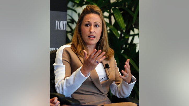 Heather Bresch, chief executive of Mylan, Inc., speaks during a session at Fortune's Most Powerful Women Summit in Laguna Niguel, California October 2, 2012.  REUTERS/Alex Gallardo (UNITED STATES - Tags: BUSINESS) - RTR38PP6