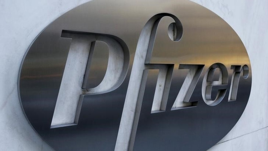 The Pfizer logo is pictured on the company's World Headquarters building in the Manhattan borough of New York November 23, 2015.