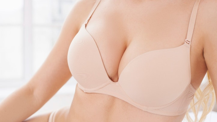 Close-up of perfect female breasts in bra
