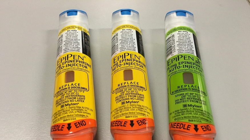 EpiPen auto-injection epinephrine pens manufactured by Mylan NV pharmaceutical company for use by severe allergy sufferers are seen in Washington, U.S. August 24, 2016.