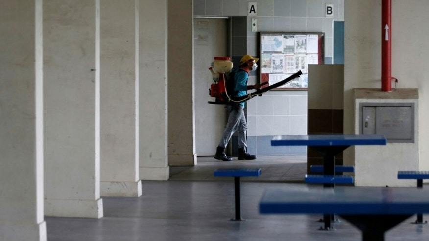 A worker sprays insecticide along the common areas of a public housing estate in Singapore