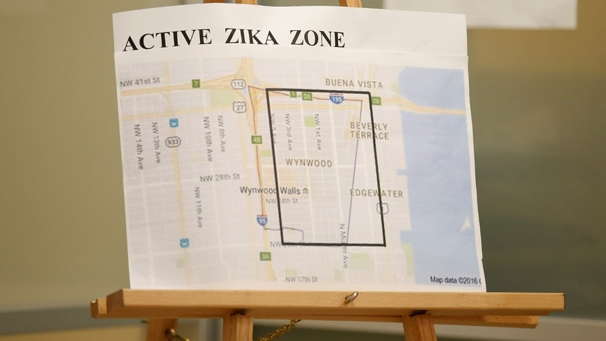 Aug. 9, 2016: A map showing the active Zika zone is on display at the Borinquen Health Care Center in Miami, Florida.