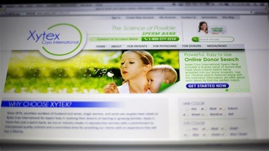 This Friday, April 17, 2015 photo shows the website of Xytex Cryo International sperm bank in Atlanta.