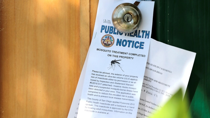 Notices given to homeowners as San Diego County officials hand spray a two block area to help prevent the mosquito-borne transmission of the Zika virus in San Diego, California, U.S. August 19, 2016.
