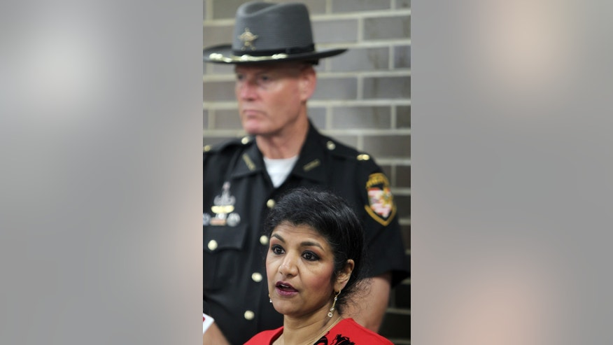 Hamilton County Ohio coroner Dr. Lakshmi Sammarco announces toxicology reports on eight people who died of drug overdoses in July and August had the drug Carfentinal in their system, Tuesday, Sept. 6, 2016, in Cincinnatti.
