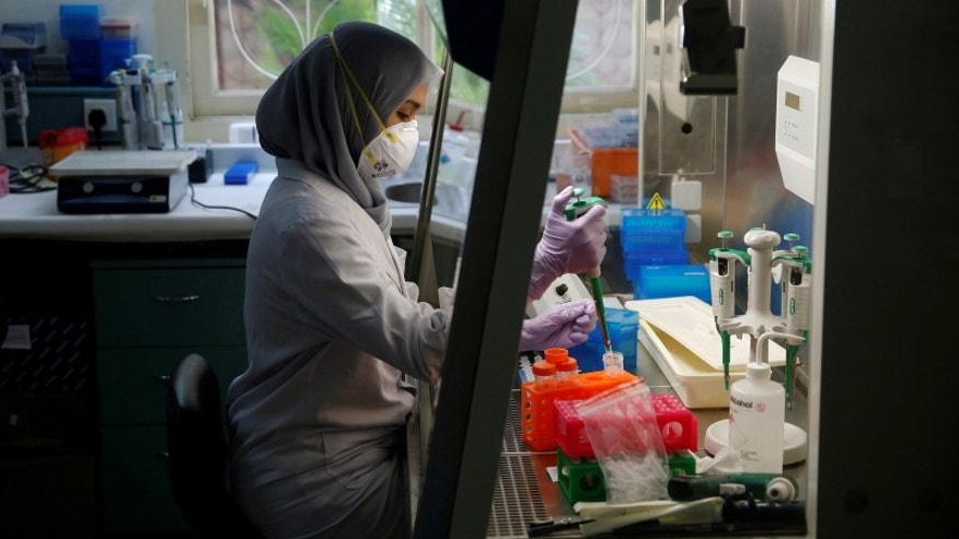 A lab technician prepares a medium to grow a virus at the Eijkman Institute, one of the only two facilities in Indonesia capable of diagnosing Zika, in Jakarta