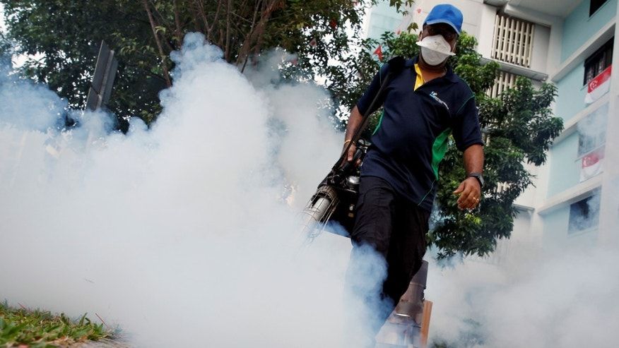 A worker fogs the common area of a public housing estate at a new Zika cluster in Singapore September 1, 2016.