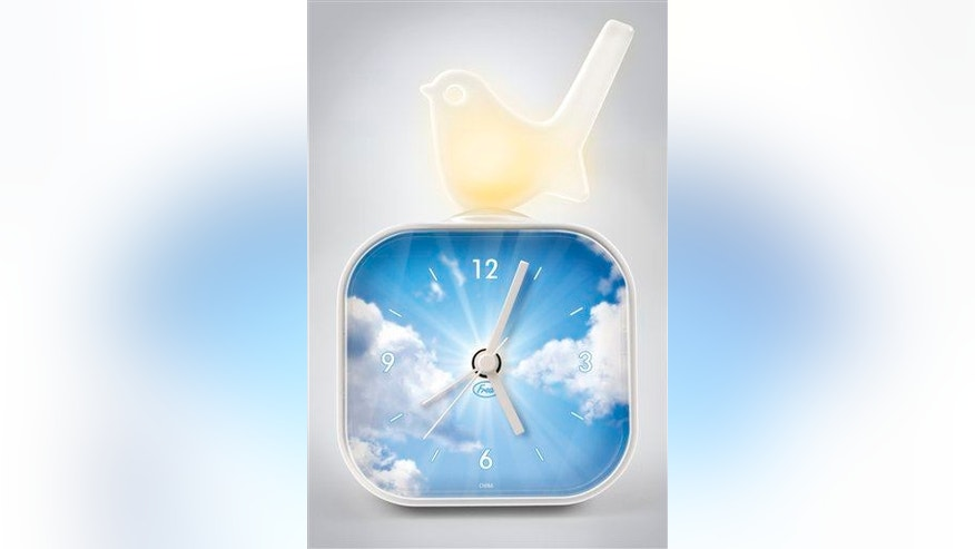 This product image released by Fred Flare shows an early bird alarm clock.