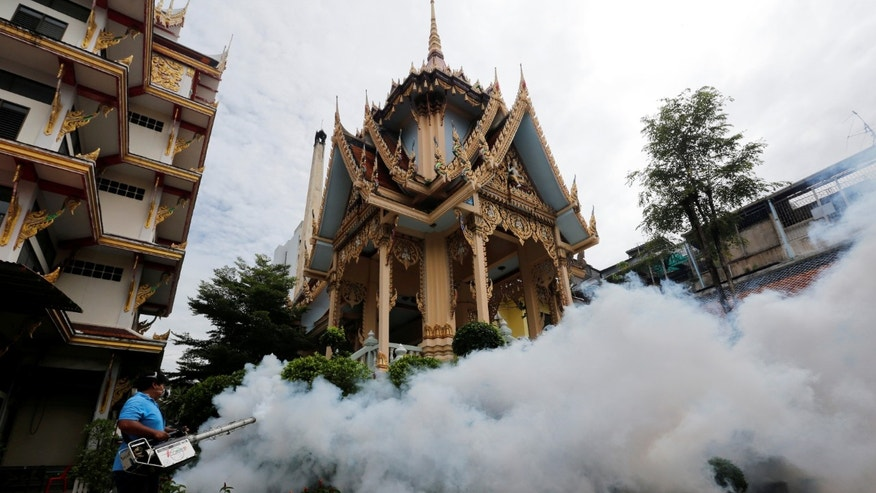 A city worker fumigates the area to control the spread of mosquitoes at a temple in Bangkok, Thailand, September 14, 2016. REUTERS/Chaiwat Subprasom - RTSNMX1