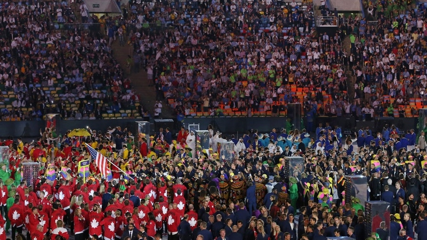 Team USA arrives during the opening ceremony.