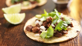 authentic mexican tacos with beef shot with selective focus.
