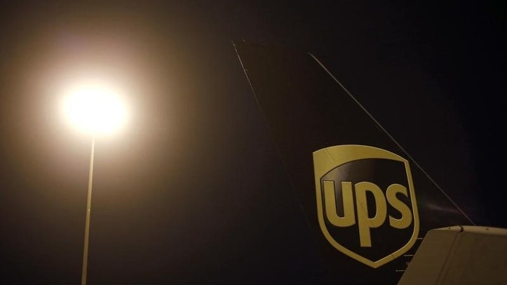 An airplane is seen on the tarmac at the United Parcel Service (UPS) Regional Air Hub in Rockville