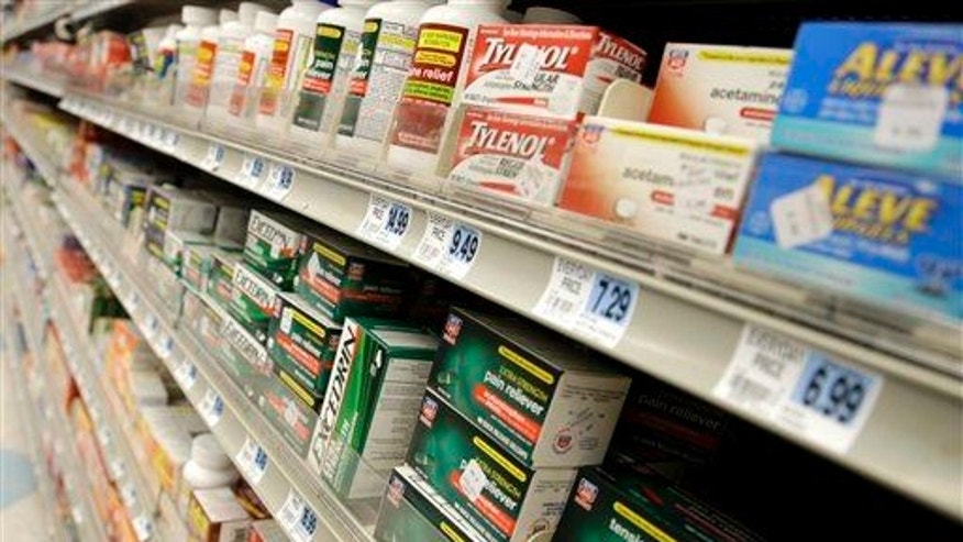 This photo taken March 10, 2013 shows non-prescription drugs displayed at a pharmacy in New York.