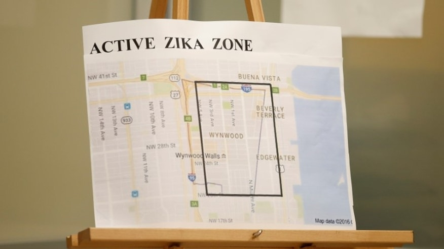 A map showing the active Zika zone is on display at the Borinquen Health Care Center in Miami