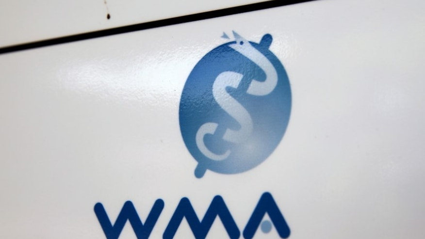 Logo of the World Medical Association is seen at the building where it is based in Ferney-Voltaire, France